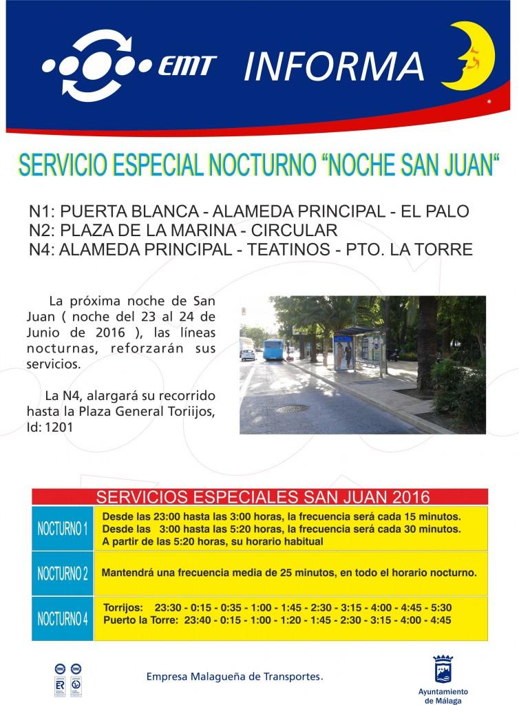 Aviso servicio Especial San Juan 23-06-16