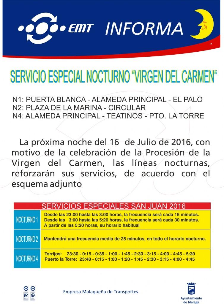 Aviso servicio Especial El Carmen 16-07-16