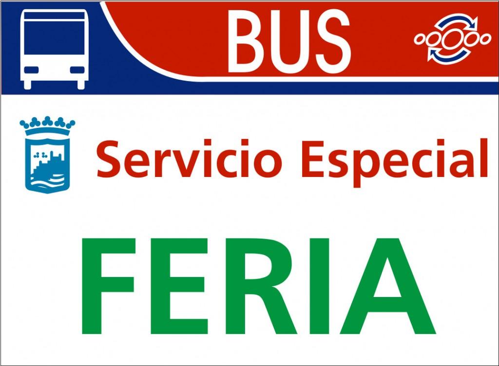Cartel servicio especial feria autobus