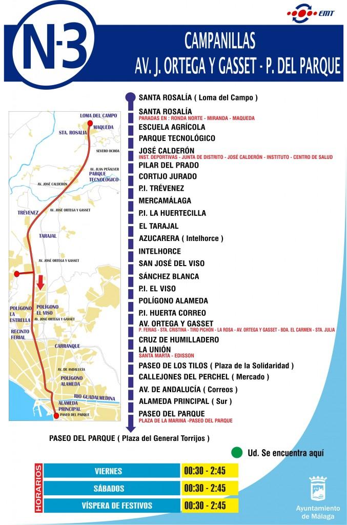 Nocturno 3 Paseo del Parque O. Gasset Campanillas Vuelta 21_04_17