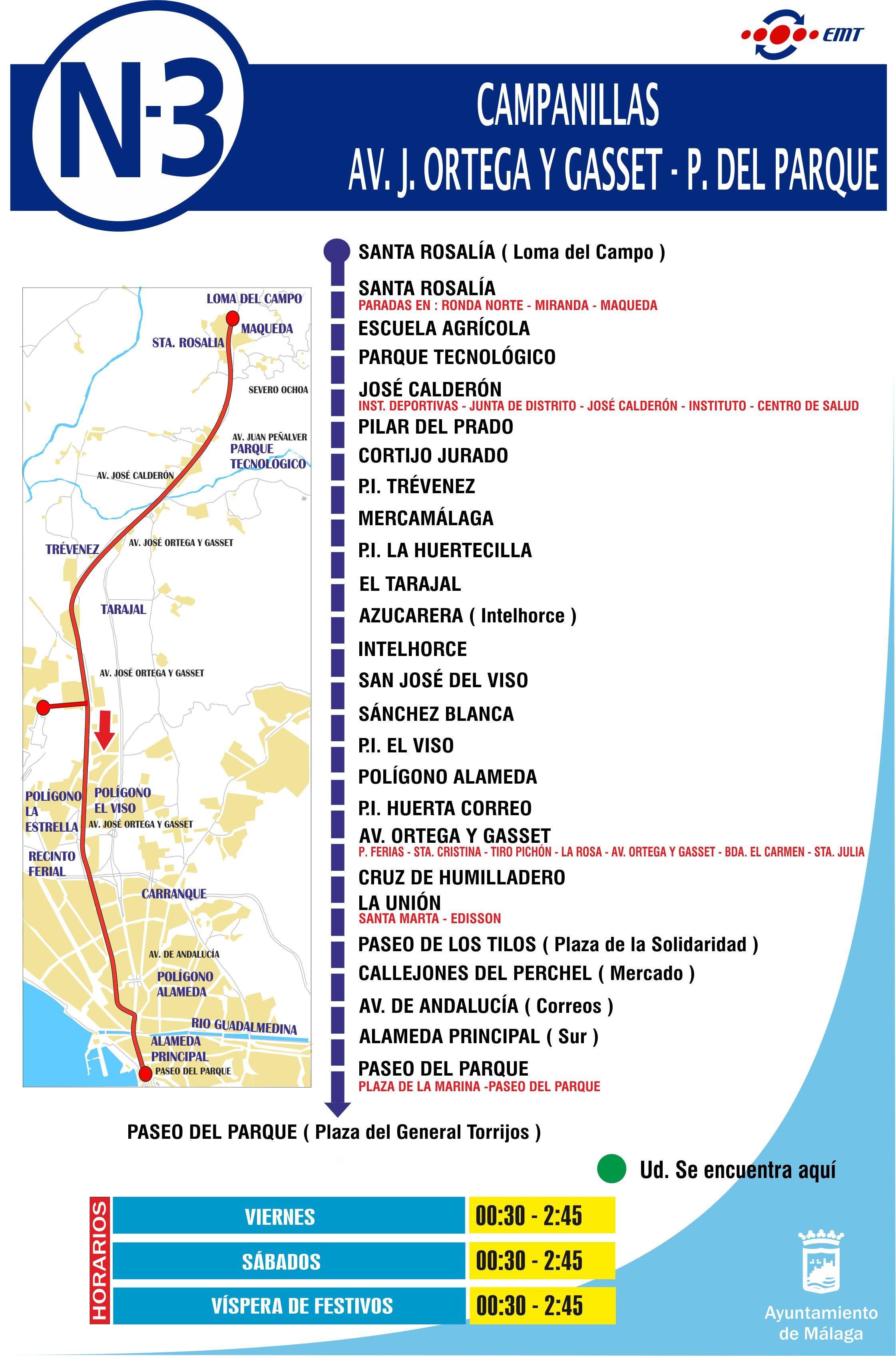 Nueva l nea nocturna 3 m laga campanillas for Oficinas de correos en malaga capital